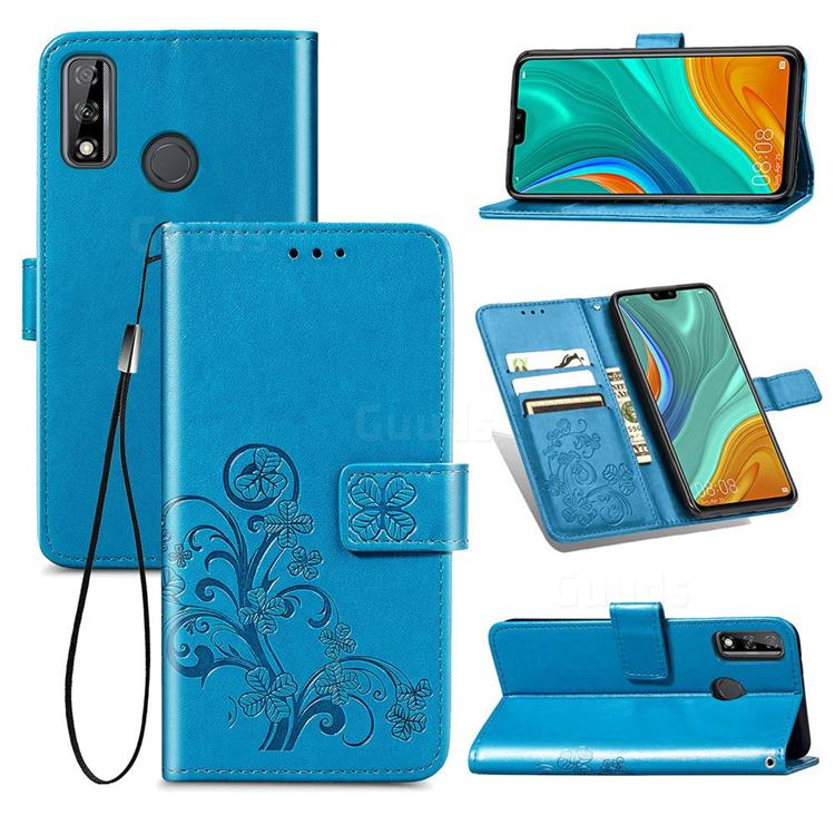 Embossing Imprint Four-Leaf Clover Leather Wallet Case for Huawei Y8s - Blue
