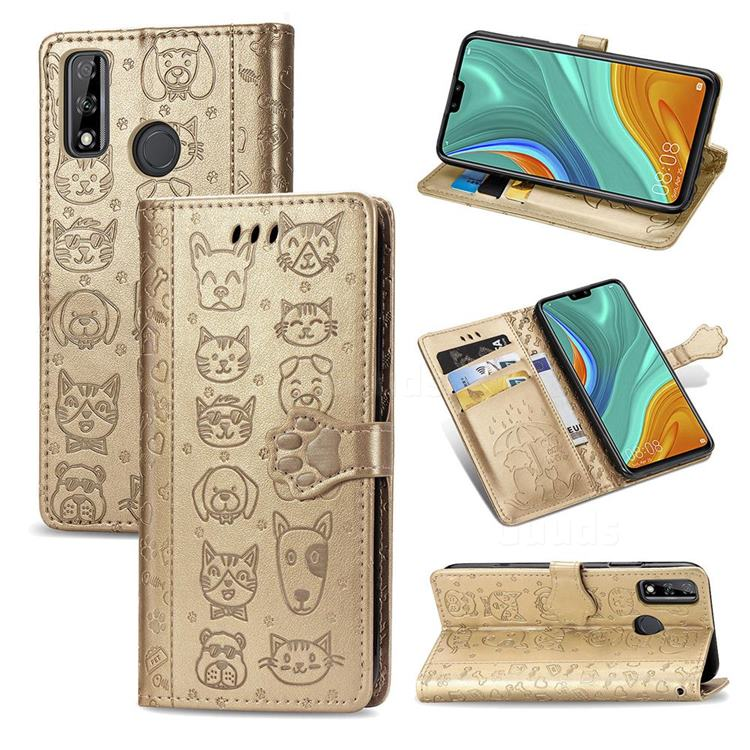 Embossing Dog Paw Kitten and Puppy Leather Wallet Case for Huawei Y8s - Champagne Gold