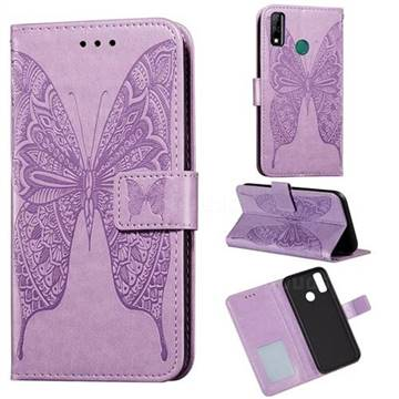 Intricate Embossing Vivid Butterfly Leather Wallet Case for Huawei Y8s - Purple