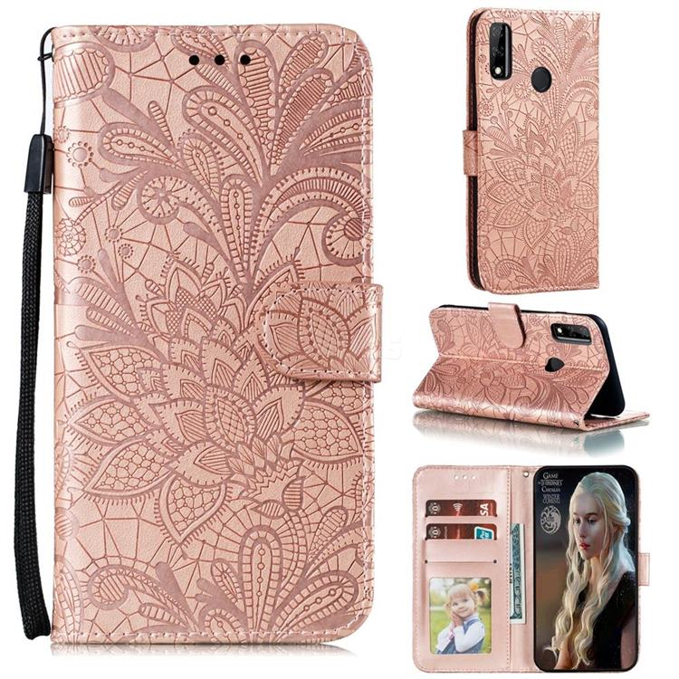Intricate Embossing Lace Jasmine Flower Leather Wallet Case for Huawei Y8s - Rose Gold