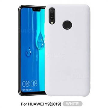 buy online a7d25 842b1 Howmak Slim Liquid Silicone Rubber Shockproof Phone Case Cover for Huawei  Y9 (2019) - White
