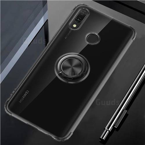 Anti-fall Invisible Press Bounce Ring Holder Phone Cover for Huawei Y9 (2019) - Elegant Black
