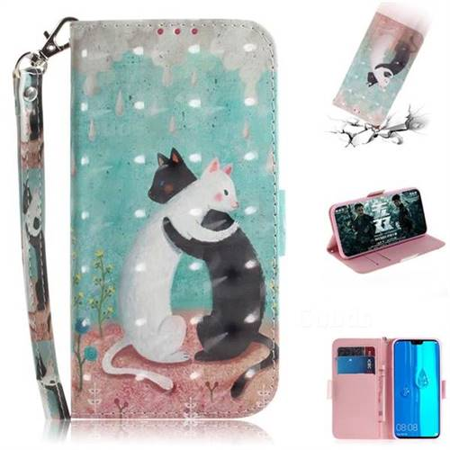 Black and White Cat 3D Painted Leather Wallet Phone Case for Huawei Y9 (2019)