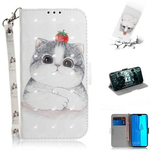 Cute Tomato Cat 3D Painted Leather Wallet Phone Case for Huawei Y9 (2019)