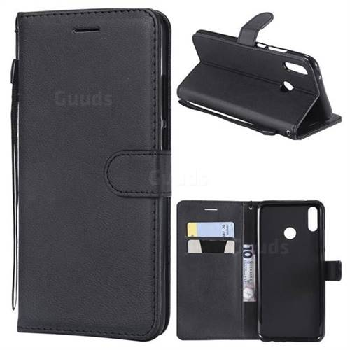 Retro Greek Classic Smooth PU Leather Wallet Phone Case for Huawei Y9 (2019) - Black