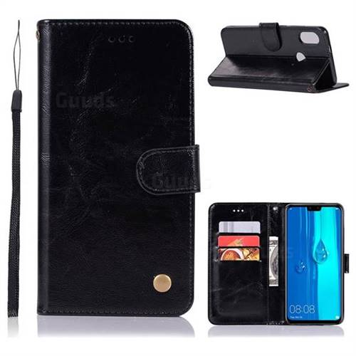 Luxury Retro Leather Wallet Case for Huawei Y9 (2019) - Black