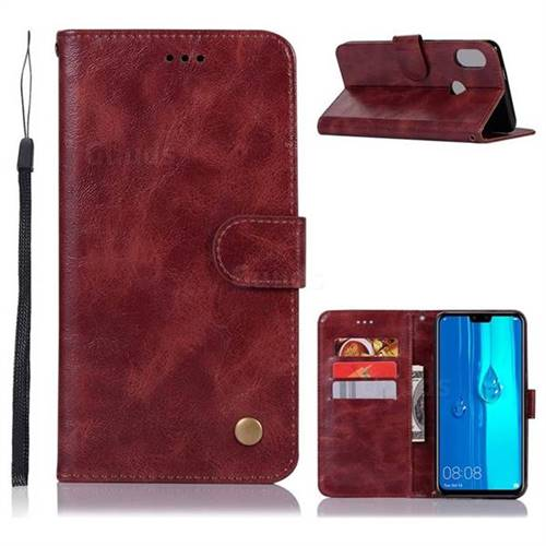 Luxury Retro Leather Wallet Case for Huawei Y9 (2019) - Wine Red