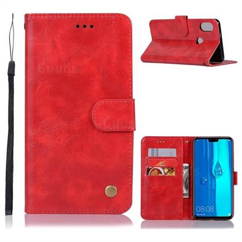 Luxury Retro Leather Wallet Case for Huawei Y9 (2019) - Red
