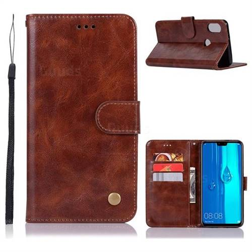 Luxury Retro Leather Wallet Case for Huawei Y9 (2019) - Brown