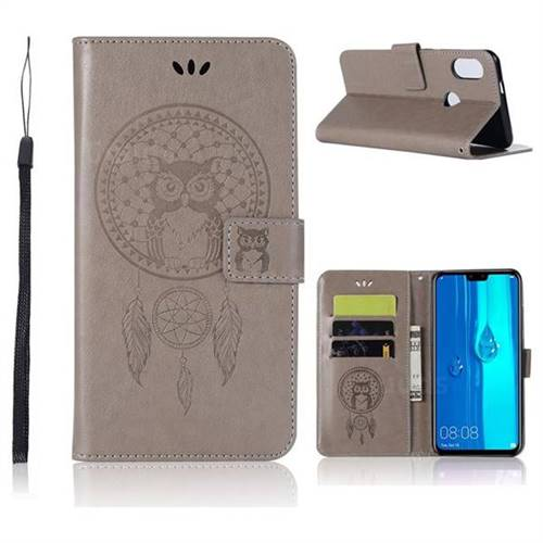 Intricate Embossing Owl Campanula Leather Wallet Case for Huawei Y9 (2019) - Grey