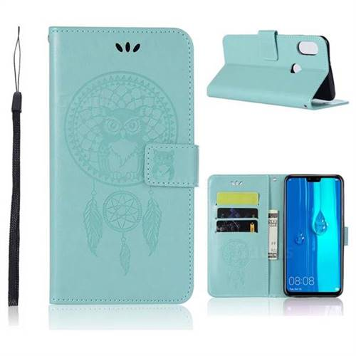 Intricate Embossing Owl Campanula Leather Wallet Case for Huawei Y9 (2019) - Green