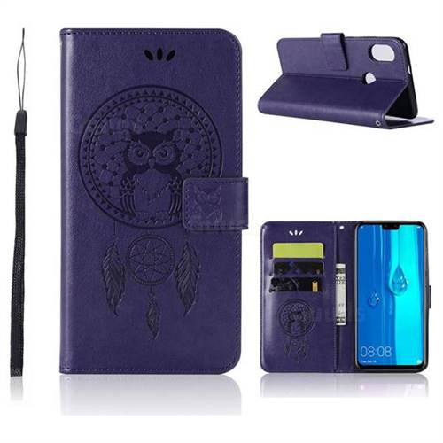 Intricate Embossing Owl Campanula Leather Wallet Case for Huawei Y9 (2019) - Purple