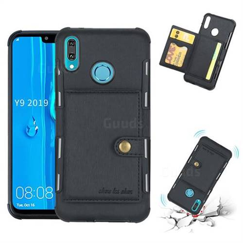 Brush Multi-function Leather Phone Case for Huawei Y9 (2019) - Black