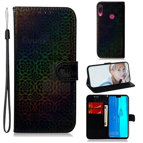 Laser Circle Shining Leather Wallet Phone Case for Huawei Y9 (2019) - Black