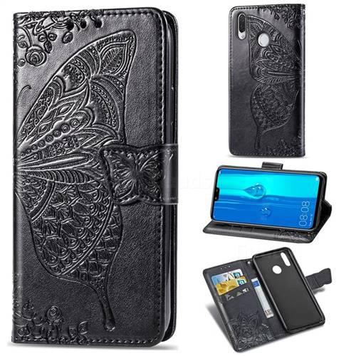 Embossing Mandala Flower Butterfly Leather Wallet Case for Huawei Y9 (2019) - Black
