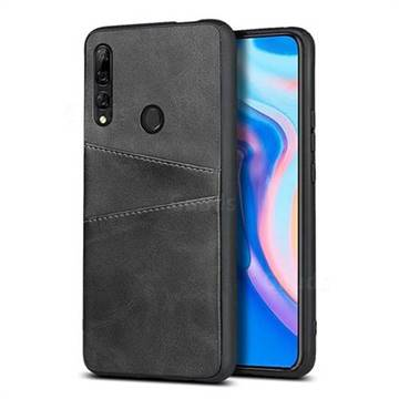 Simple Calf Card Slots Mobile Phone Back Cover for Huawei Y9 (2019) - Black