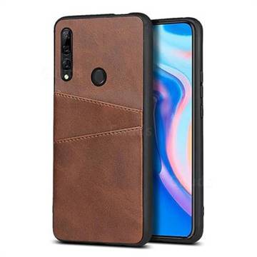 Simple Calf Card Slots Mobile Phone Back Cover for Huawei Y9 (2019) - Coffee