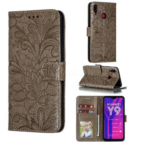 Intricate Embossing Lace Jasmine Flower Leather Wallet Case for Huawei Y9 (2019) - Gray