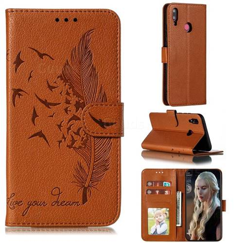 Intricate Embossing Lychee Feather Bird Leather Wallet Case for Huawei Y9 (2019) - Brown