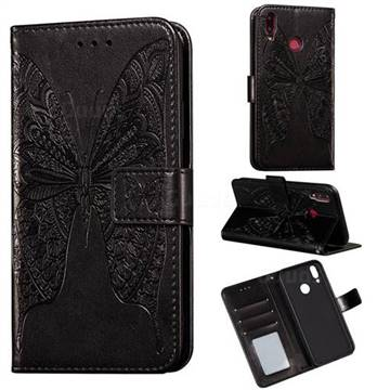 Intricate Embossing Vivid Butterfly Leather Wallet Case for Huawei Y9 (2019) - Black