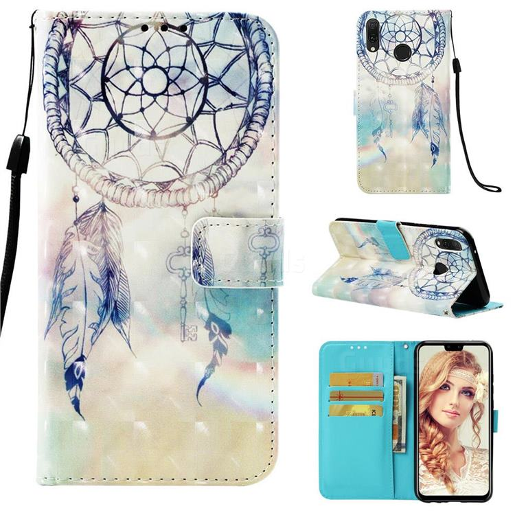 Fantasy Campanula 3D Painted Leather Wallet Case for Huawei Y9 (2019)