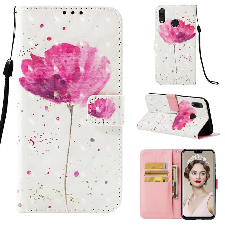 Watercolor 3D Painted Leather Wallet Case for Huawei Y9 (2019)