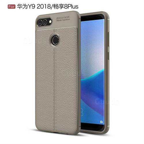 Luxury Auto Focus Litchi Texture Silicone TPU Back Cover for Huawei Y9 (2018) - Gray