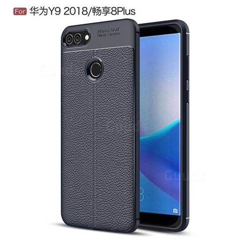 Luxury Auto Focus Litchi Texture Silicone TPU Back Cover for Huawei Y9 (2018) - Dark Blue