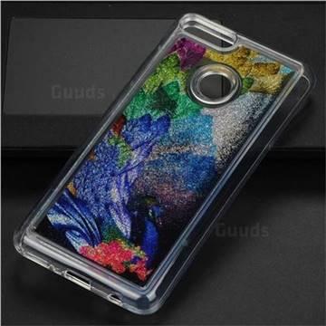 Phoenix Glassy Glitter Quicksand Dynamic Liquid Soft Phone Case for Huawei Y9 (2018)