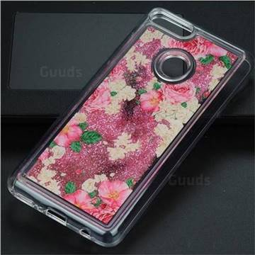 Rose Flower Glassy Glitter Quicksand Dynamic Liquid Soft Phone Case for Huawei Y9 (2018)