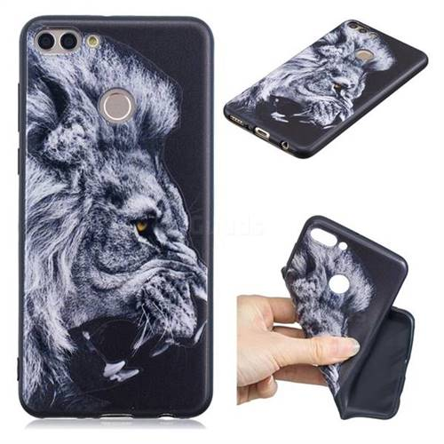 Lion 3D Embossed Relief Black TPU Cell Phone Back Cover for Huawei Y9 (2018)