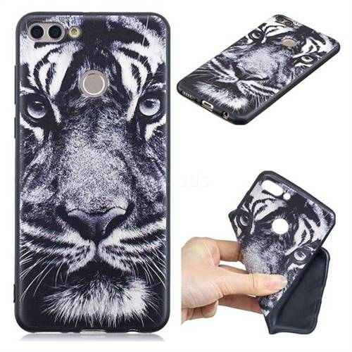 White Tiger 3D Embossed Relief Black TPU Cell Phone Back Cover for Huawei Y9 (2018)