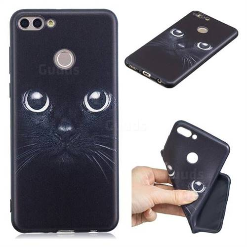 Bearded Feline 3D Embossed Relief Black TPU Cell Phone Back Cover for Huawei Y9 (2018)