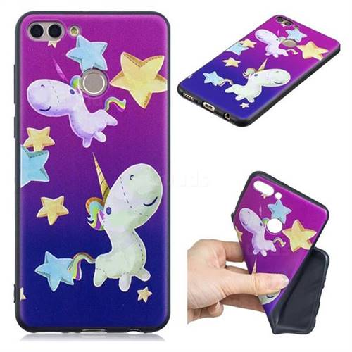 Pony 3D Embossed Relief Black TPU Cell Phone Back Cover for Huawei Y9 (2018)