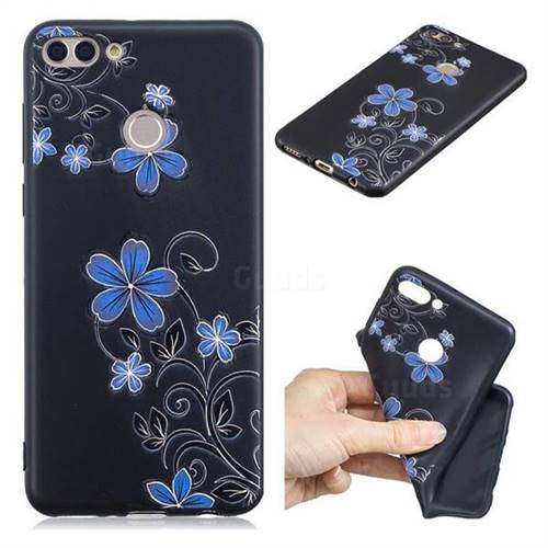 Little Blue Flowers 3D Embossed Relief Black TPU Cell Phone Back Cover for Huawei Y9 (2018)