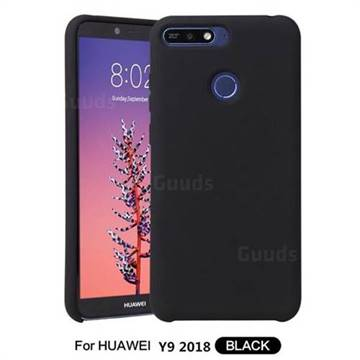 Howmak Slim Liquid Silicone Rubber Shockproof Phone Case Cover for Huawei Y9 (2018) - Black