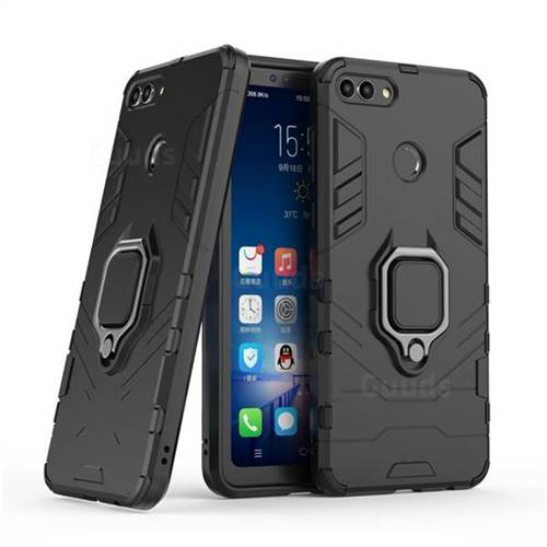 Black Panther Armor Metal Ring Grip Shockproof Dual Layer Rugged Hard Cover for Huawei Y9 (2018) - Black