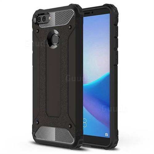 King Kong Armor Premium Shockproof Dual Layer Rugged Hard Cover for Huawei Y9 (2018) - Black Gold