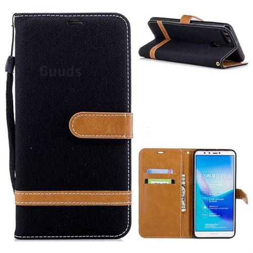Jeans Cowboy Denim Leather Wallet Case for Huawei Y9 (2018) - Black