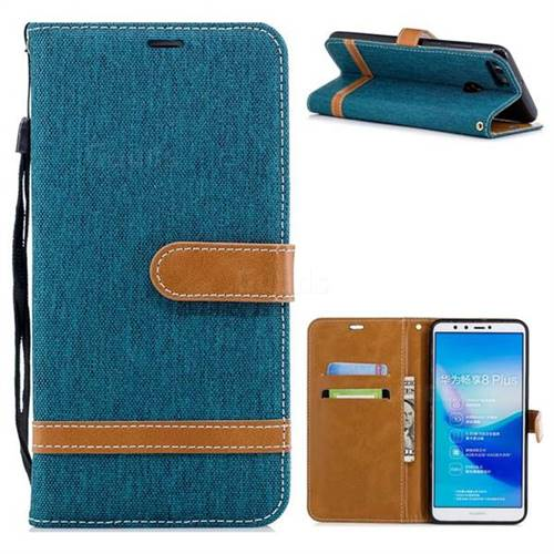 Jeans Cowboy Denim Leather Wallet Case for Huawei Y9 (2018) - Green