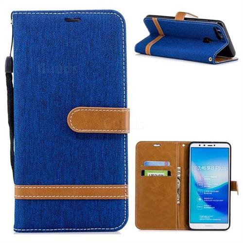 Jeans Cowboy Denim Leather Wallet Case for Huawei Y9 (2018) - Sapphire