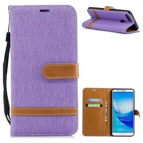 Jeans Cowboy Denim Leather Wallet Case for Huawei Y9 (2018) - Purple