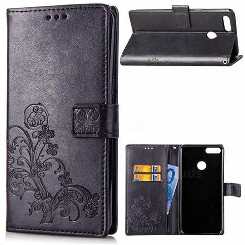 Embossing Imprint Four-Leaf Clover Leather Wallet Case for Huawei Y9 (2018) - Black
