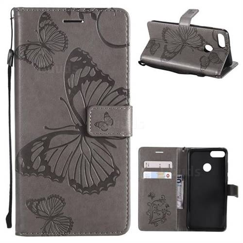 Embossing 3D Butterfly Leather Wallet Case for Huawei Y9 (2018) - Gray