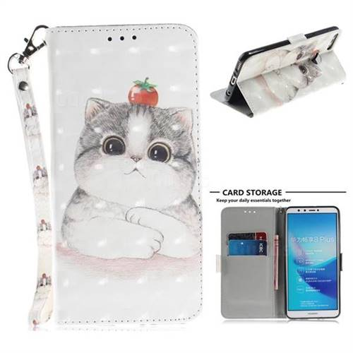 Cute Tomato Cat 3D Painted Leather Wallet Phone Case for Huawei Y9 (2018)