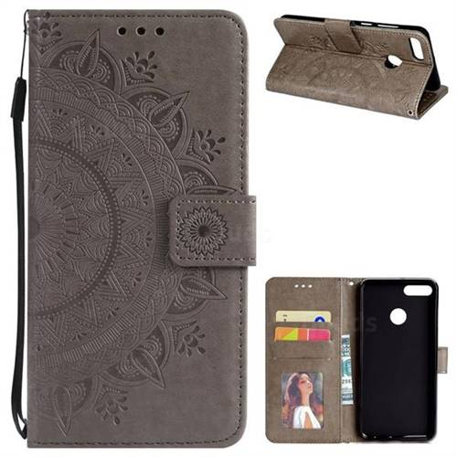 Intricate Embossing Datura Leather Wallet Case for Huawei Y9 (2018) - Gray