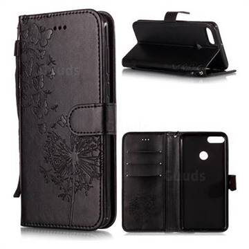 Intricate Embossing Dandelion Butterfly Leather Wallet Case for Huawei Y9 (2018) - Black