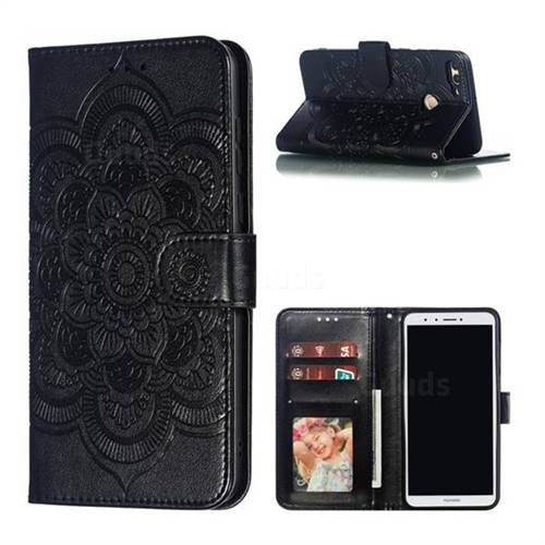 Intricate Embossing Datura Solar Leather Wallet Case for Huawei Y9 (2018) - Black