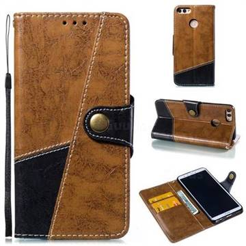 Retro Magnetic Stitching Wallet Flip Cover for Huawei Y9 (2018) - Brown