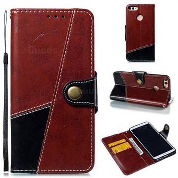 Retro Magnetic Stitching Wallet Flip Cover for Huawei Y9 (2018) - Dark Red